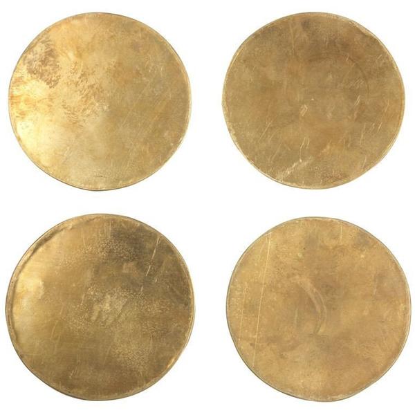 SIR MADAM Solid Brass Coasters Set of 4
