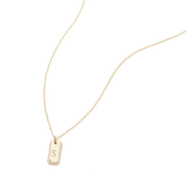 SOPHIE RATNER Engraved Initial Tag Necklace