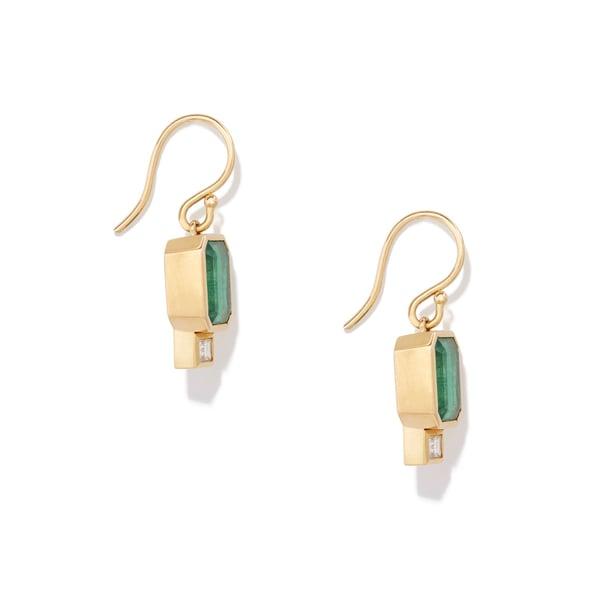 AZLEE Emerald Baguette Earrings