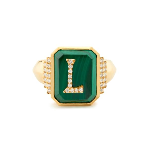 SORELLINA Customizable Monogram Malachite Signet Ring