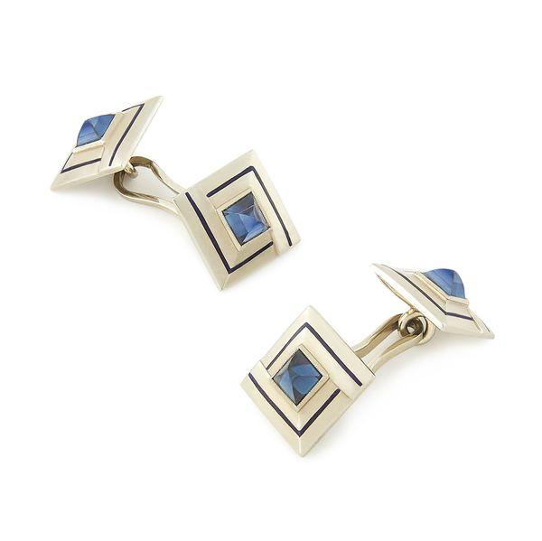 FOUNDWELL Art Deco Sapphire and Enamel Cufflinks