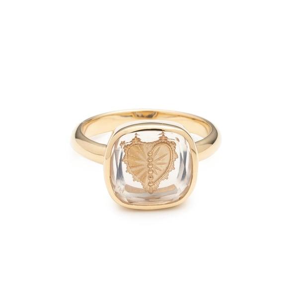 FOUNDRAE Sealed Gemstone Heart Ring