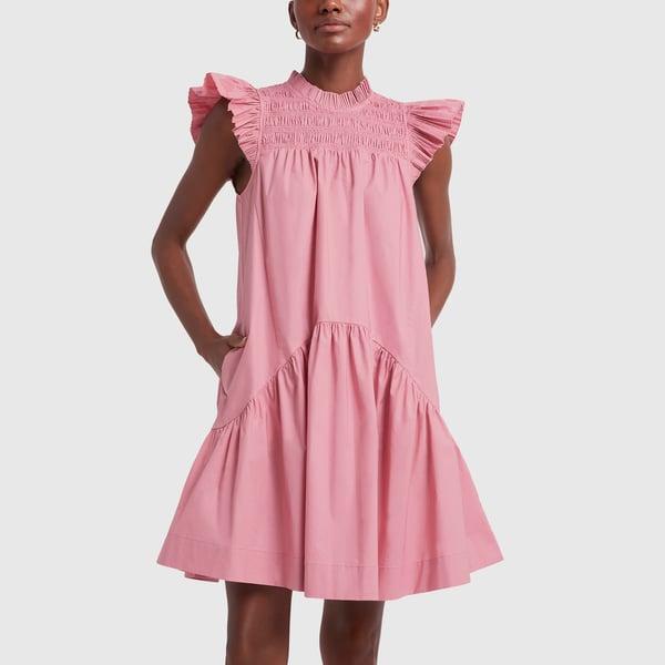 SEA Smocked Flutter-Sleeve Dress