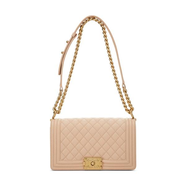 WHAT GOES AROUND COMES AROUND Chanel Beige Medium Boy Bag
