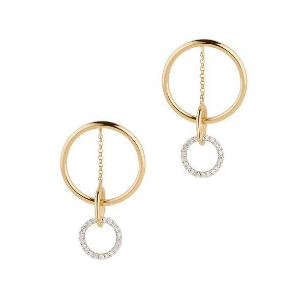 G. LABEL Apple Circle Pavé Drop Earrings