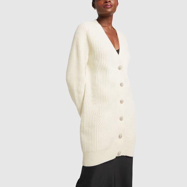 GANNI Rib-Knit Cardigan