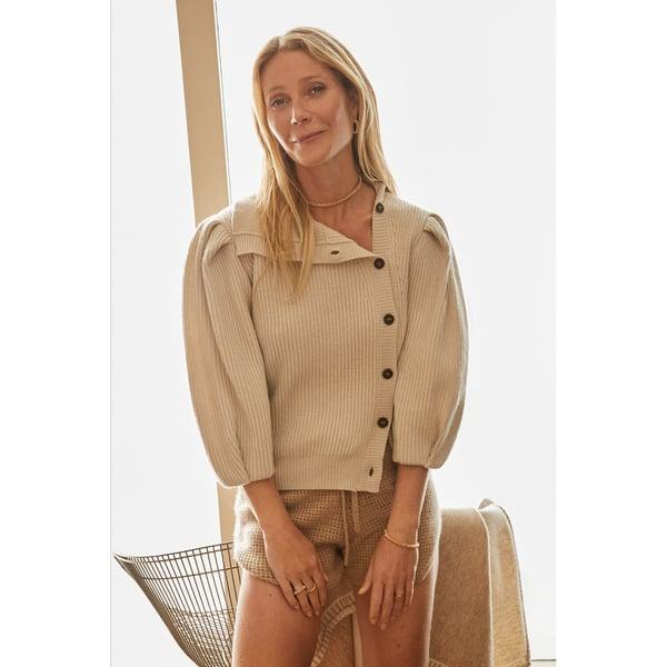 G. LABEL Segovia Side-Button Puff-Sleeve Cardigan