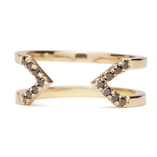 Dagger Midi Ring With Diamonds