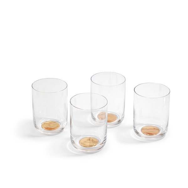 High Crystal Glass With Gold Bottom