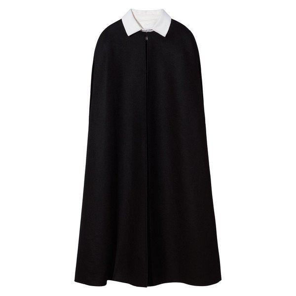 Long Cape With Detachable Collar