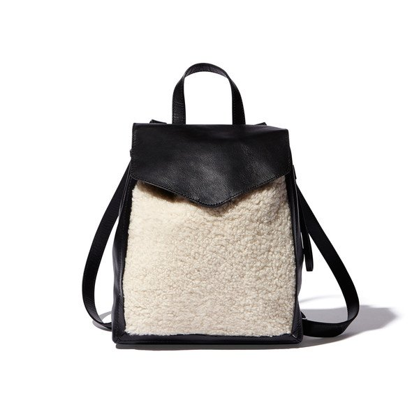 Mini backpack with shearling