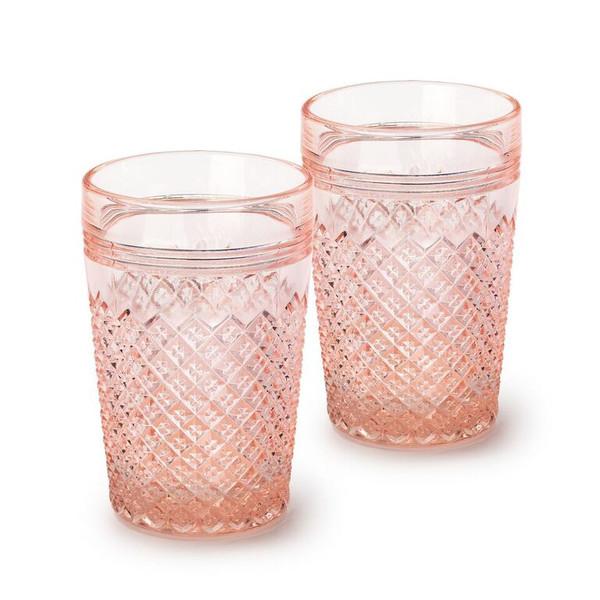 Pink Glass Tumbler Set of 4