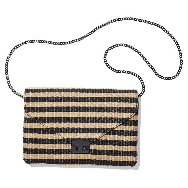 Striped Raffia Clutch