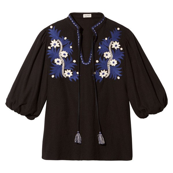 Two-Tone Floral Embroidered Top