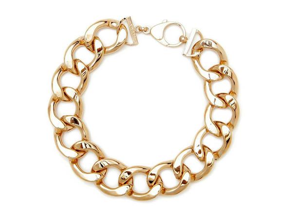 brass link necklace Gold