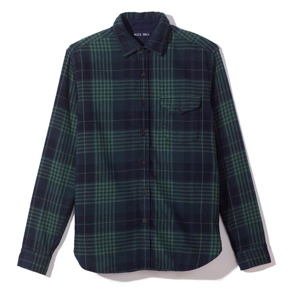 Brushed twill plaid shirt Green/Black