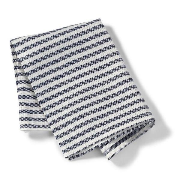 Linen Kitchen Cloth White Navy Stripe