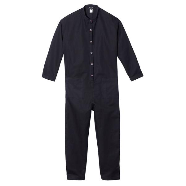 Patch pocket jumpsuit in black