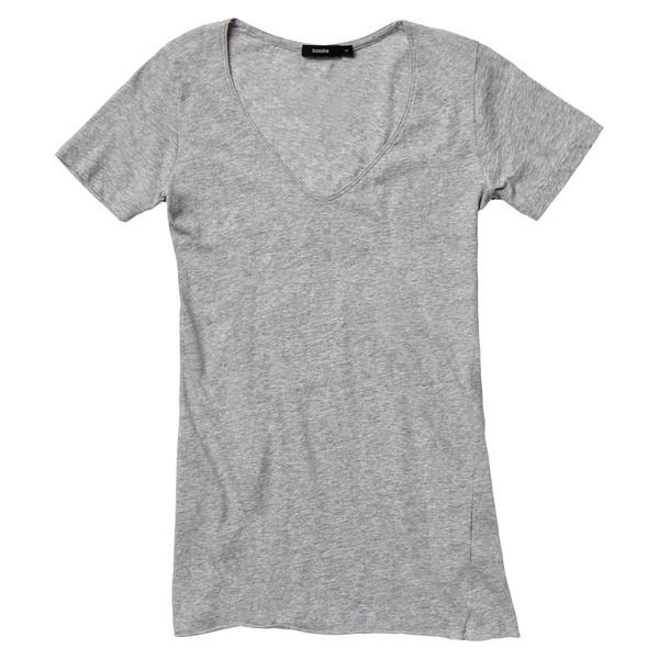 Scoop V-Neck T-Shirt Marl Grey