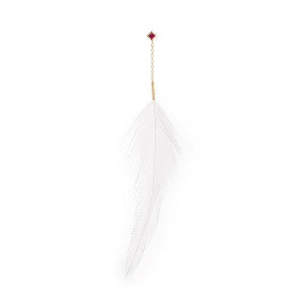 14K Yellow Gold & Ruby Feather Earring