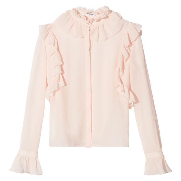 Side ruffle blouse