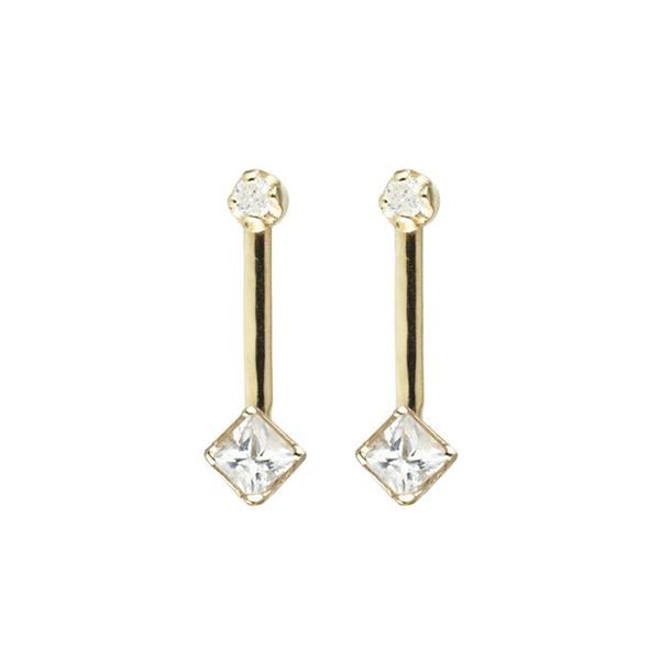 Loren Stewart Square & Diamond Bar Stud Earrings
