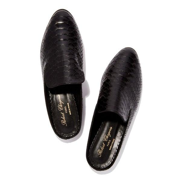 Clergerie Alice Slides (Black Croc)