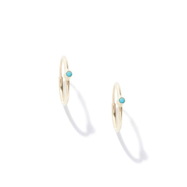 Jennifer Meyer Small Thin Hoops With Stones
