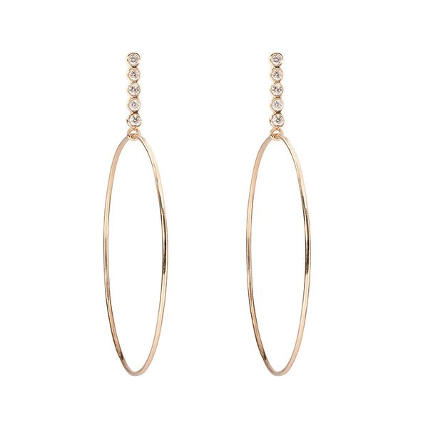 Sophie Ratner Diamond Hoop Drop Earrings