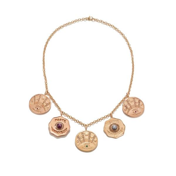 Marlo Laz Talisman 5 Coin Necklace