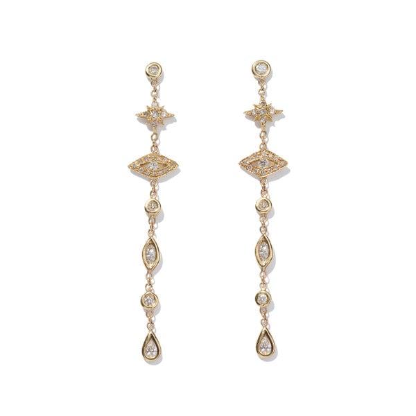 Jacquie Aiche Shining Star & Eye Diamond Drop Earrings