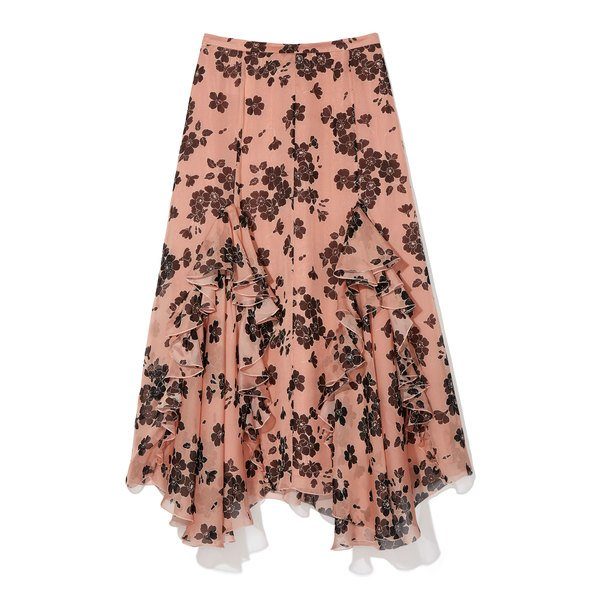 Rochas Mirabilis Floral Chiffon Skirt