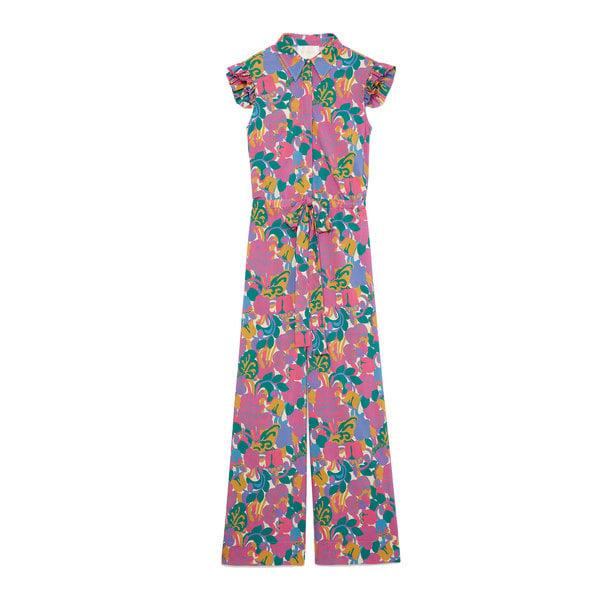 La DoubleJ Floral Flutter-Sleeve Jumpsuit