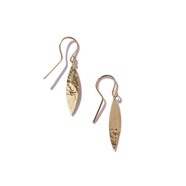 Jennifer Meyer Hammered 1 Marquise Drop Earrings