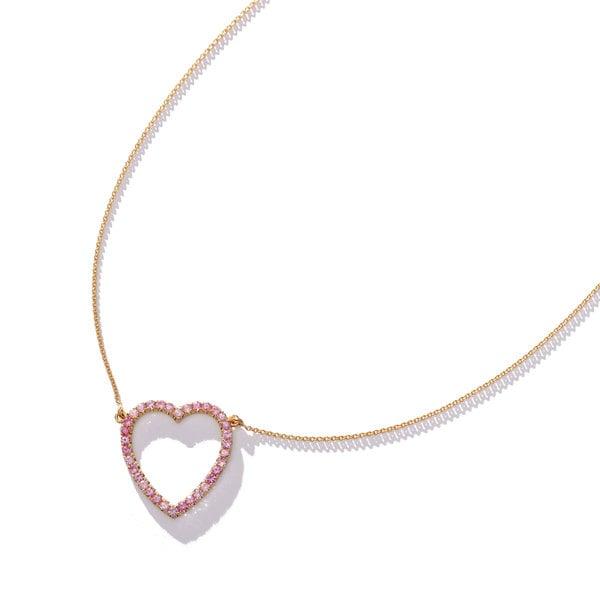 Jennifer Meyer Pink Sapphire Large Open Heart Necklace