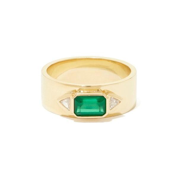 Azlee Emerald NESW Diamond Ring
