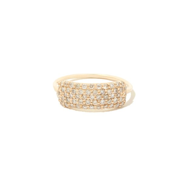 Sophie Ratner Diamond Studded Yellow-Gold Tag Ring