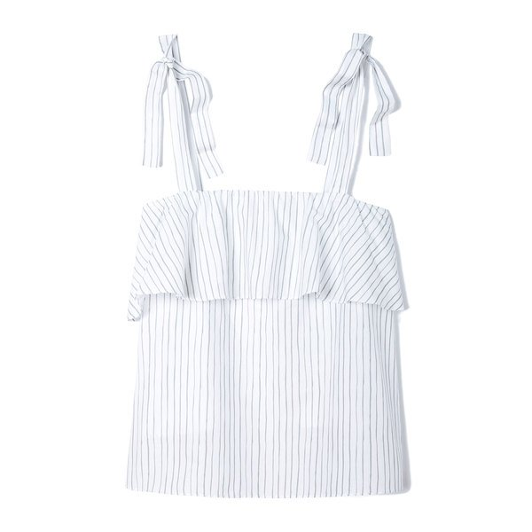 Pour Les Femmes Striped Ruffle Top