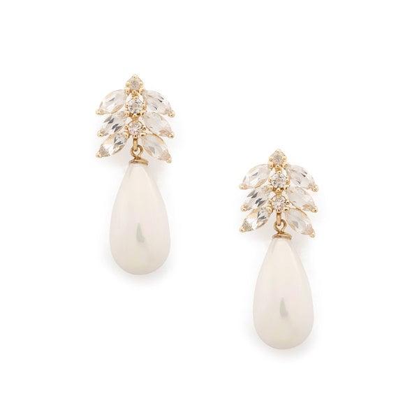Loren Stewart Aura Teardrop Diamond Pearl & Topaz Earrings