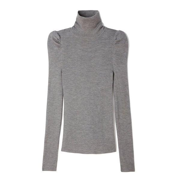 G. Label Corrine Puff-Sleeve Turtleneck Sweater