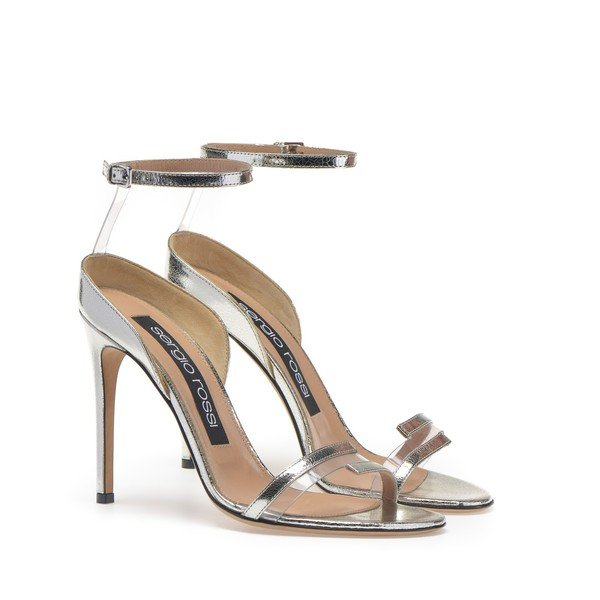 Sergio Rossi Karen Dual-Strap Silver Heels
