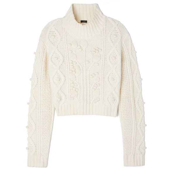 Joseph Cropped Wool Cable Sweater