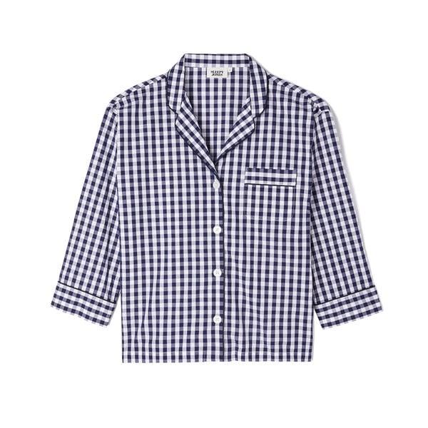 Sleepy Jones Marina Gingham Cotton Pajama Shirt