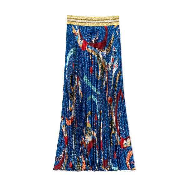 Stella Jean Gonna Printed Pleated Skirt
