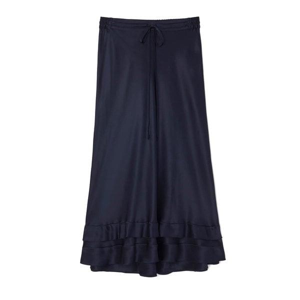 Lee Mathews Rose Silk-Satin Ruffle Hem Skirt