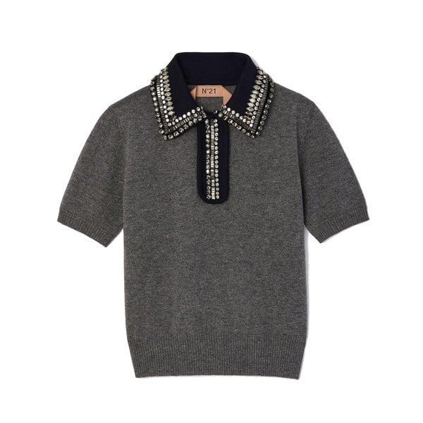 No. 21 Collared Melange Sweater