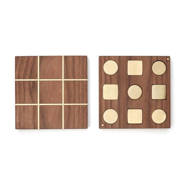 EARL Walnut & Brass Tic-Tac-Toe Set