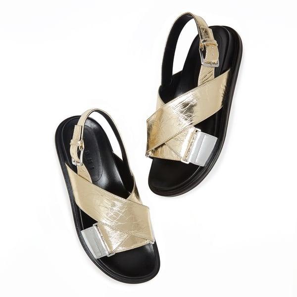 Marni Fussbett Metallic Leather Sandals