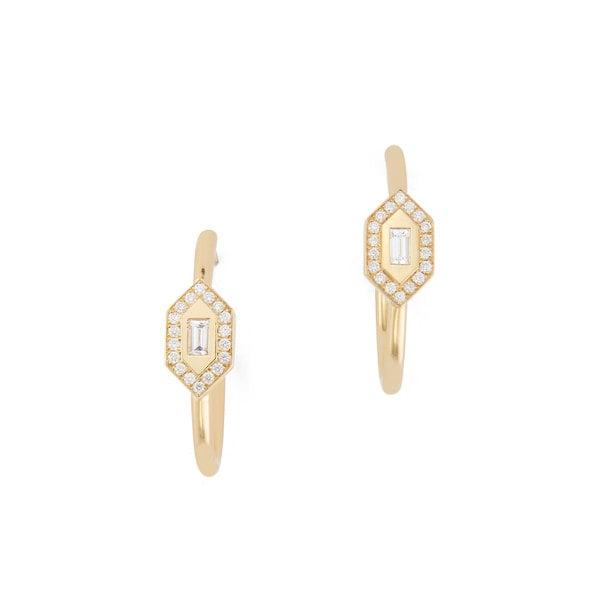 Azlee Yellow Gold Diamond Hoops