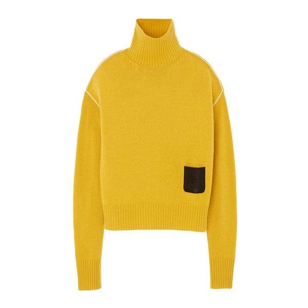 Rochas Turtleneck Leather-Detail Sweater